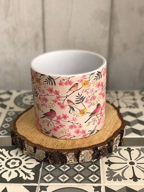Large blossom & bird plant pot