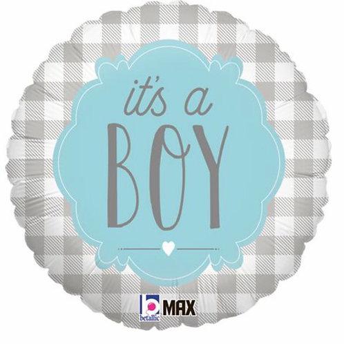 It's a boy! Blue & grey balloon