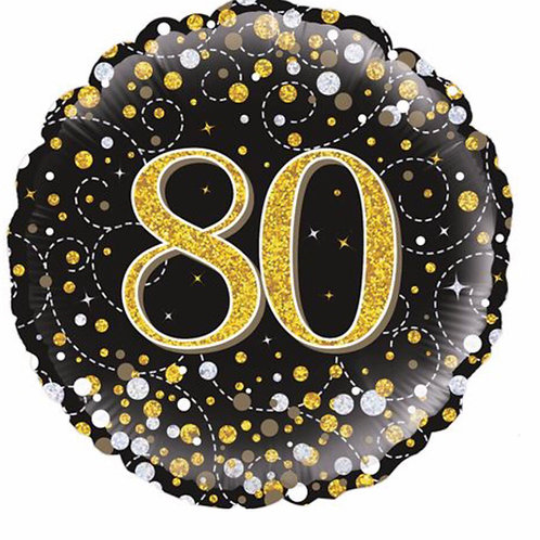 Happy 80th Birthday Balloon (Black & Gold)