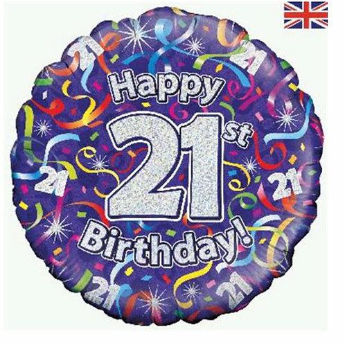 Happy 21st Birthday Balloon (Silver & Purple)