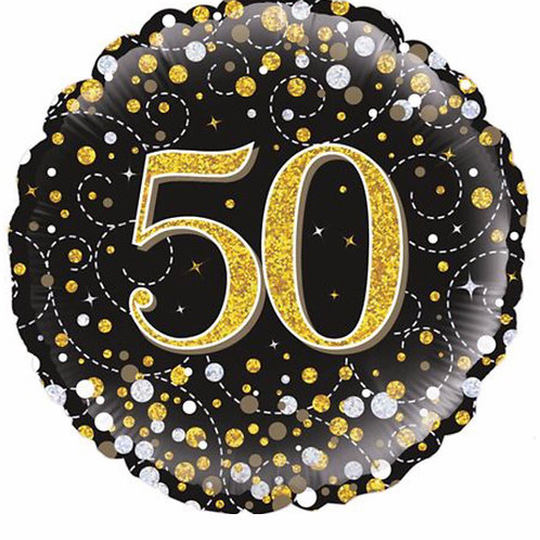 Happy 50th Birthday Balloon (Black & Gold)