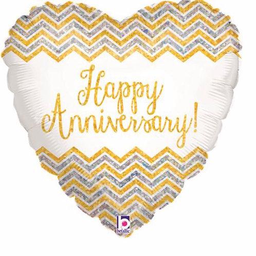 Happy Anniversary balloon (Silver, White & Gold)