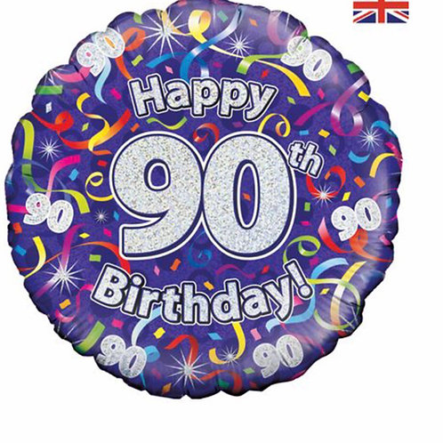 Happy 90th Birthday Balloon  (Silver & Purple)