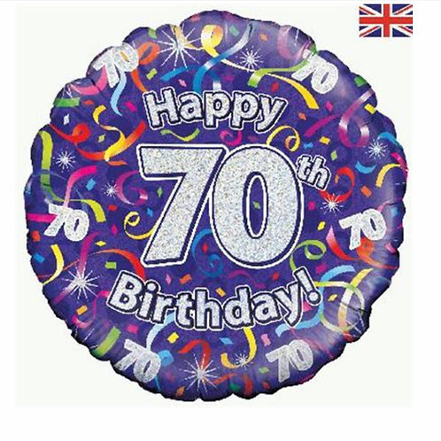 Happy 70th Birthday Balloon (Silver & Purple)
