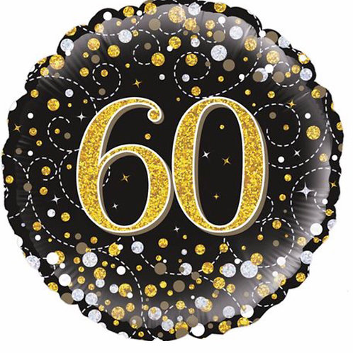 Happy 60th Birthday Balloon (Black & Gold )