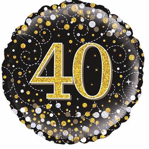 Happy 40th Birthday Balloon (Black & Gold)