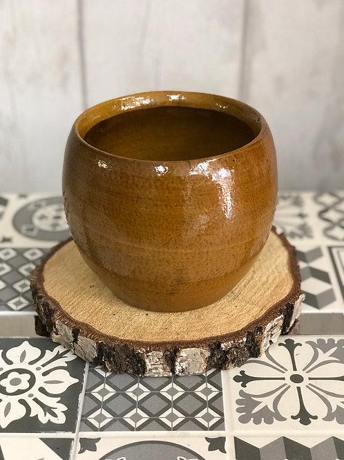 Brown bowl plant pot