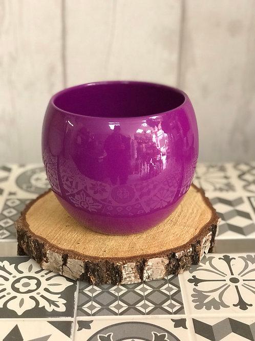 Purple bowl plant pot