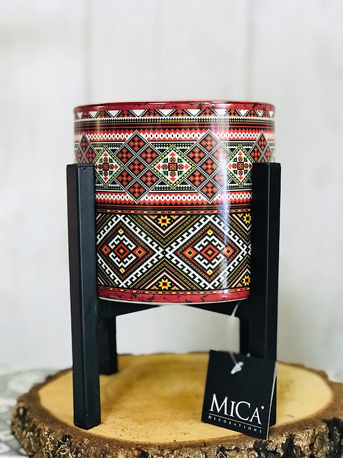Aztec red pot & stand