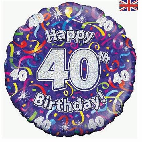 Happy 40th Birthday Balloon (Purple & Silver)