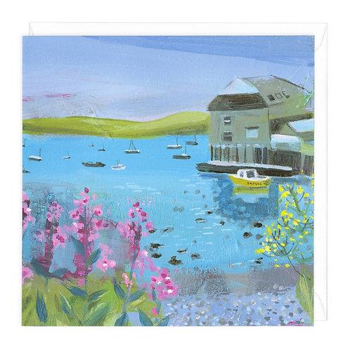 Summer flowers, blue sea card
