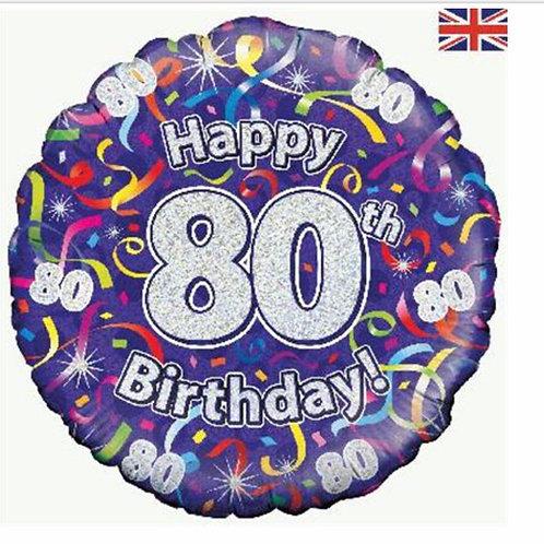 Happy 80th Birthday Balloon (Silver & Purple)