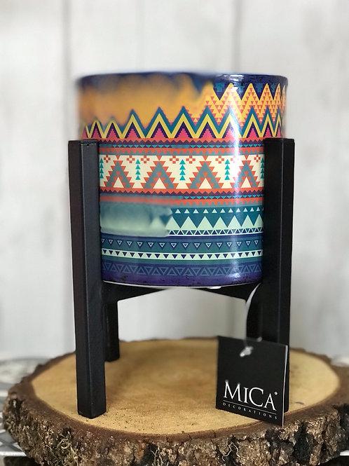 Triangular Aztec plant pot in Mica Stand