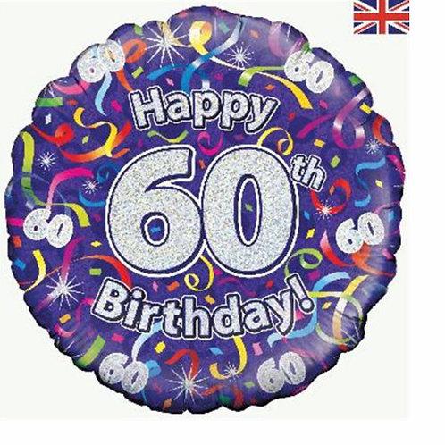Happy 60th Birthday Balloon (Silver & Purple)