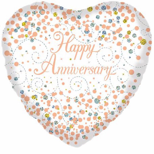 Happy Anniversary balloon (Gold & White)
