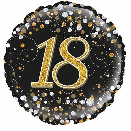 Happy 18th Birthday Balloon (Black & Gold)