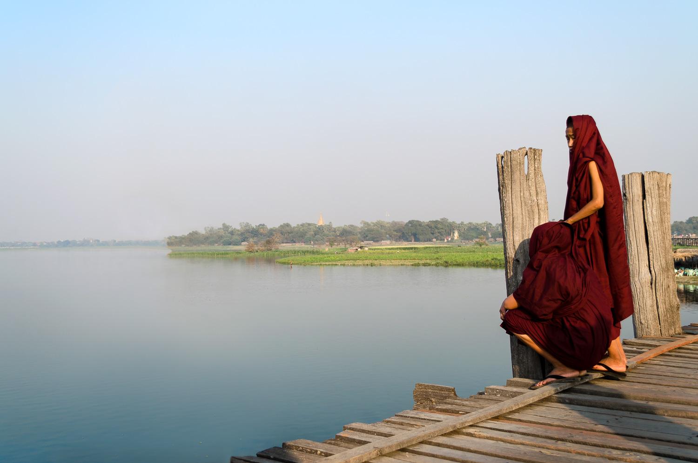 U Bein Bridge Myanmar Monks Burma
