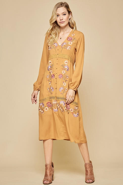 Golden Hour Floral Midi Dress