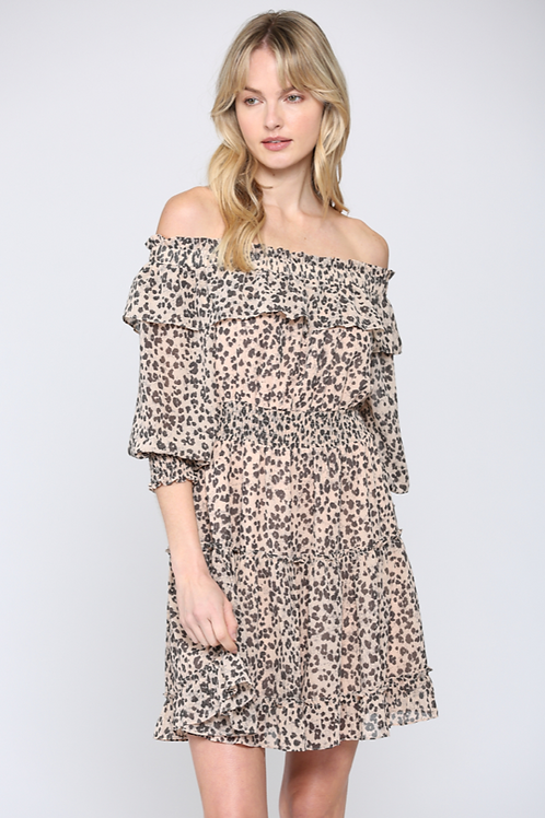 Leopardly Off Shoulder Dress