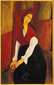 Jeanne Hebuterne in Red Shawl by Modigliani