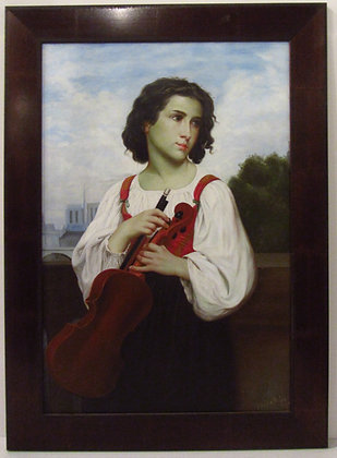 A Boy and His Violin (Original Oil Painting)