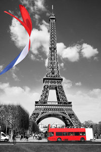Eiffel Tower with French Flag