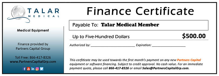 Talar Medical Finance Certificate NEW.jp