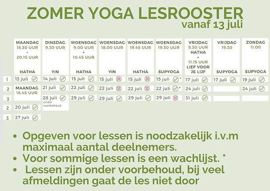 Zomeryoga, Yogajuf Roosendaal 2020
