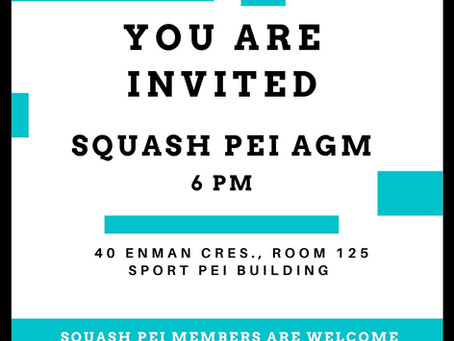 Squash PEI AGM MAY 26