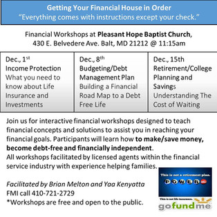 Financial Workshops at Pleasant Hope