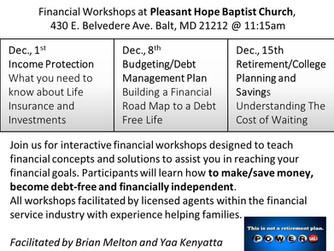 Financial Workshops at Pleasant Hope