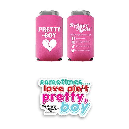 """""""Pretty Boy"""" Koozie and Sticker Bundle"""