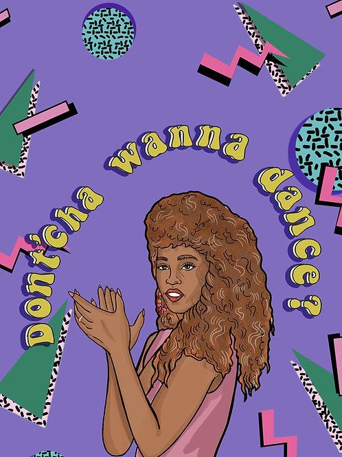Whitney Houston Retro Print A4