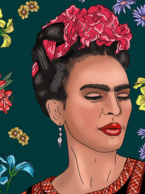 Frida Kahlo Print Green