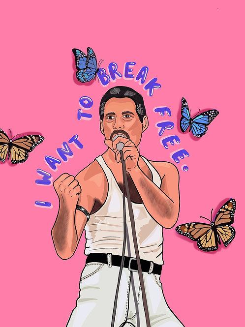 Freddie Mercury Print Pink/ Blue