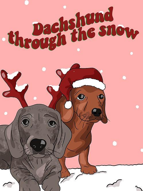 Christmas Card- Christmas Dachshunds