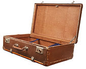 Open empty vintage suitcase isolated. Cl