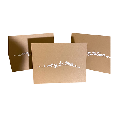 Blank Kraft Merry Christmas Greeting Cards, Pack of 10