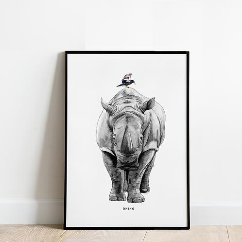 Poster Neushoorn 30x40