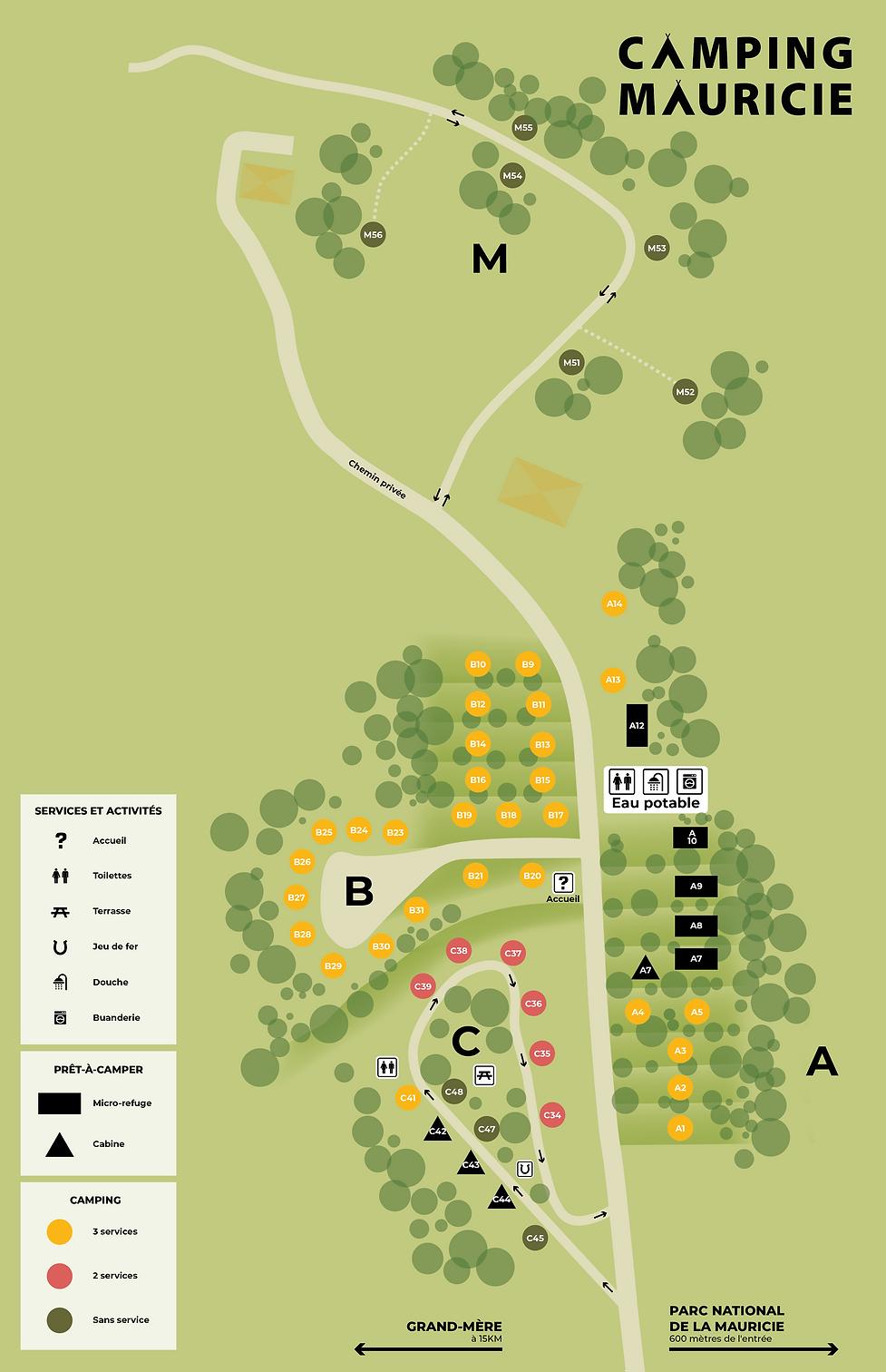 Carte terrain de camping Mauricie. Situé en montagne et voisin du parc de la Mauricie.