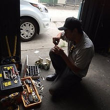Issac performing a commercial lockout and lock change