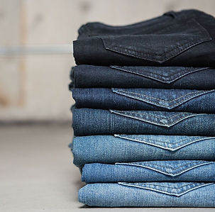 Fashion brand positioning, stack of jeans