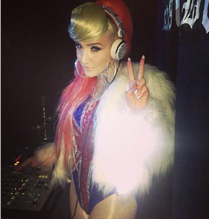 Alexis Knox DJ'ing jacket Gemma Goldstone