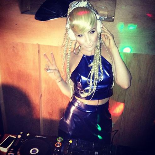 Alexis Knox DJ'ing full Gemma Goldstone look