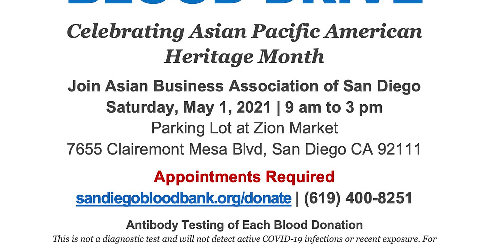 Blood Drive for Asian Pacific American Heritage Month!