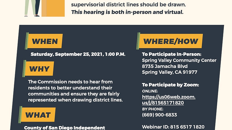 COSD Independent Redistricting Commission General Public Hearing