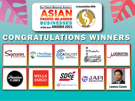 2021 San Diego Business Journal Asian Pacific Islander Businesses of the Year Award Winners!