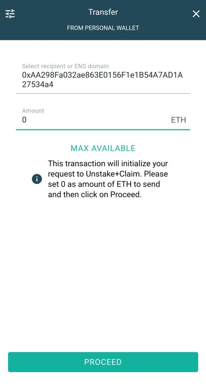 eidoo wallet unstake + claim