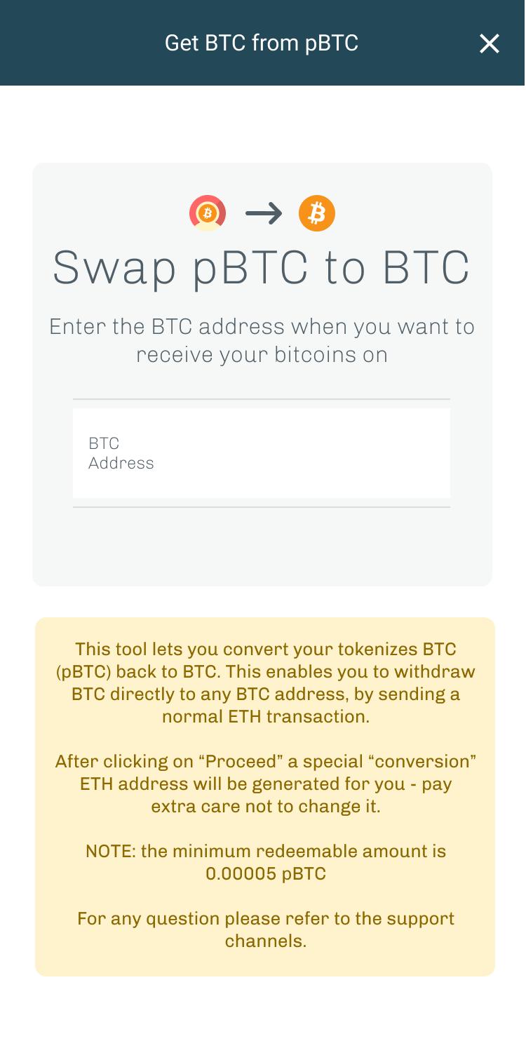 Get BTC from pBTC
