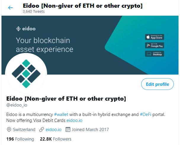 Eidoo Twitter Profile